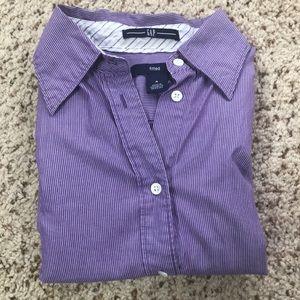 GAP purple striped button down